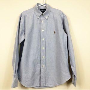 Ralph Lauren Boy's 8 Blue Oxford Shirt Multi Pony